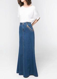 Falda larga denim - Faldas - Mujer - MANGO