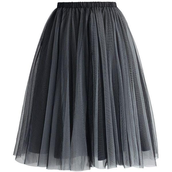 Chicwish Amore Mesh Tulle Skirt in Smoke ($40) ❤ liked on Polyvore featuring skirts, bottoms, faldas, saias, grey, grey skirt, knee length tulle skirt, layered skirt, gray skirt and mesh skirt