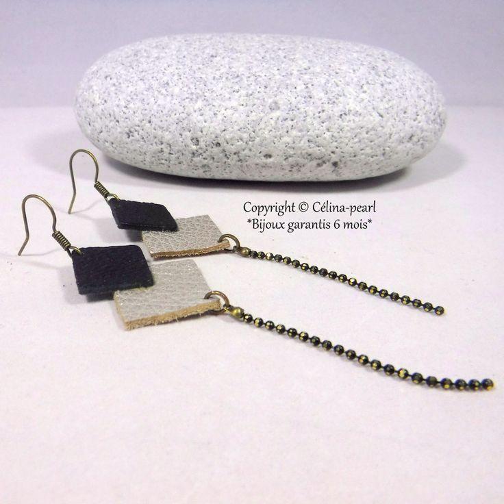 Cuir - Boucles d'oreilles cuir, graphique, carré noir et doré, chaînette facette noire dorée