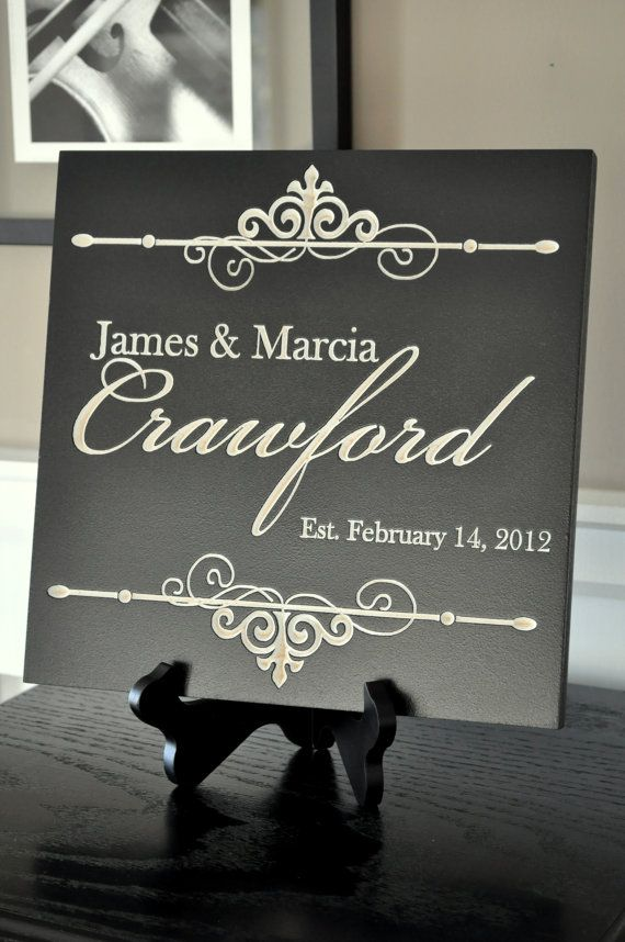 Personalized Family Name Sign Plaque Established 11x11 Carved Engraved Makes a great wedding or anniversary gift
