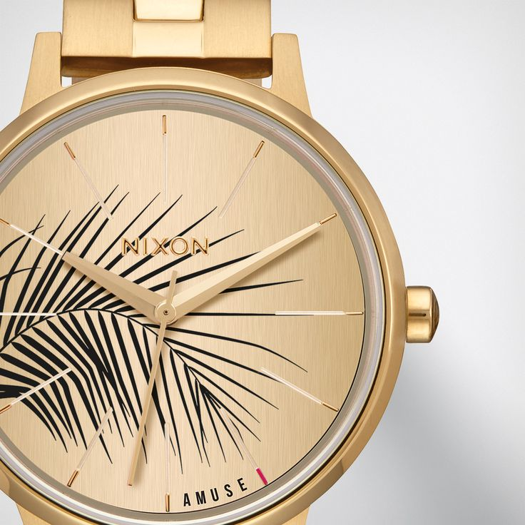 The Nixon | AMUSE SOCIETY Kensington blends beach and street with a screened palm frond dial and custom gold stainless steel bracelet. http://nxon.co/2fLevFJ