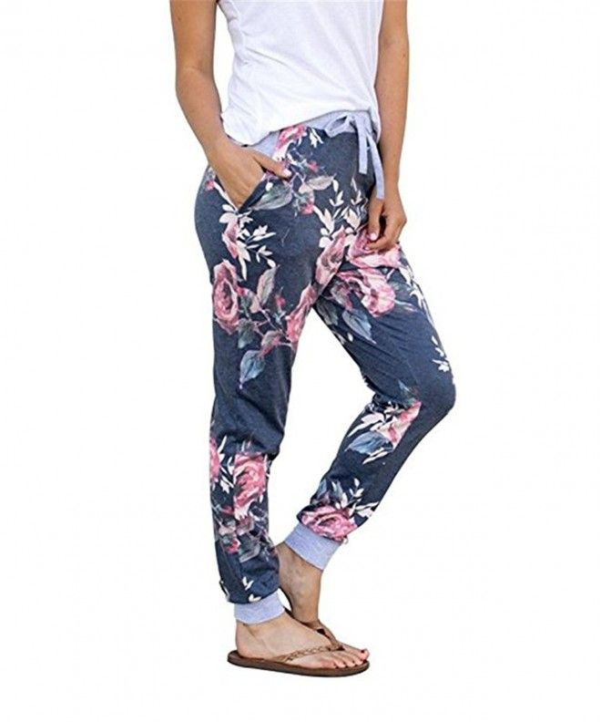 0cb716d51194 Womens Joggers Pants High Waisted Floral Printed Drawstring Pants - Z-navy  - CP18CLWOQRZ,Women's Clothing, Pants #Pants #fashion #style #Pants