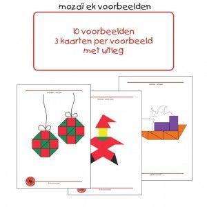 Kerst-mozaiek-1 Ook in de kerstperiode kunnen de kinderen de mooiste dingen maken van mozaïek van Klazien Smid. Bianca Oldenbeuving maakte 10 voorbeelden in het thema Kerst, die na gelegd kunnen worden. Elk voorbeeld staat op 3 kaarten: met lijnen, zonder lijnen en een zwart-wit voorbeeld voor differentiatie in moeilijkheid. In het pakket vind je o.a.: een kribbe, een slee, een kerstman en kerstballen.