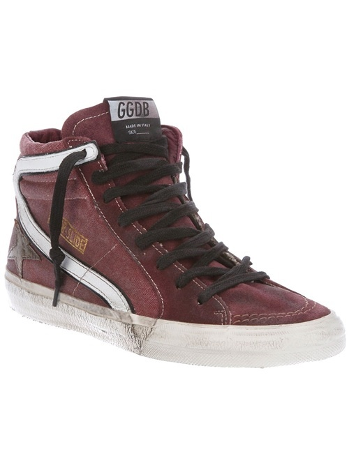 Purple cotton sneakers from Golden Goose featuring a black lace up front, a worn-in effect, contrast cream stitch detailing, a white curved stripe to the side, a gold-tone printed logo to the side, a star motif to the side and a thick cream rubber sole with a worn-in effect.