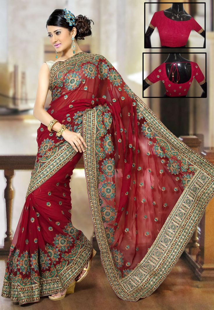 #Maroon Faux Georgette #Saree