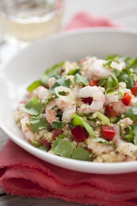 Salade de quinoa aux crevettes nordiques et à la coriandre - Châtelaine