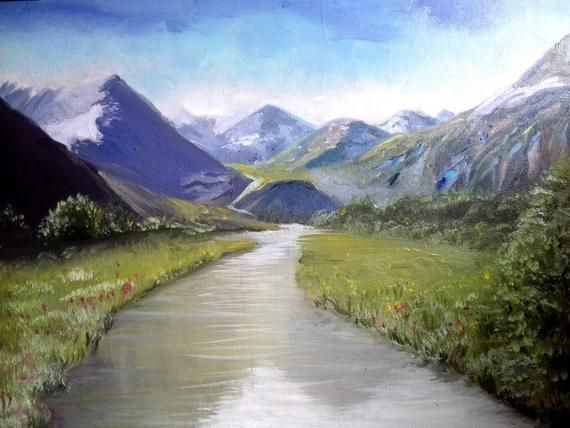 Oil Painting Mountain Landscape Oil Painting Painting On Canvas Mountains By The River Oil Painting Oil Mountain Landscape Oil Painting Landscape Waterfall Art