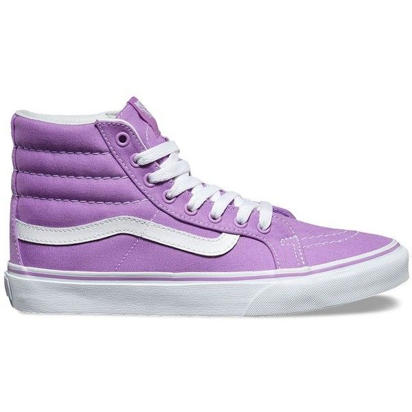 Vans SK8-Hi Slim ($60) ❤ liked on Polyvore featuring shoes, sneakers, purple, purple sneakers, lace up sneakers, purple high tops, purple hi tops and high top trainers