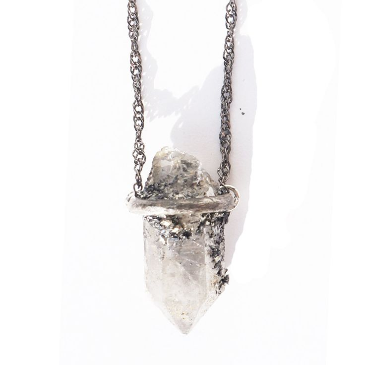 Quartz crystal necklace oxidized