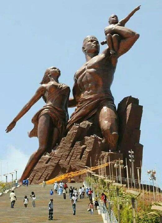 """""""The African Renaissance Monument"""" in Senegal. Bronze, 60 foot tall statue overlooking the Atlantic Ocean designed by a Senegalese arch… 