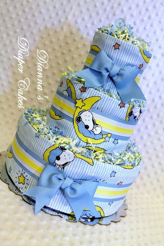 Snoopy Sleeping on the Moon Baby Diaper Cake - Baby Diaper Cakes ...