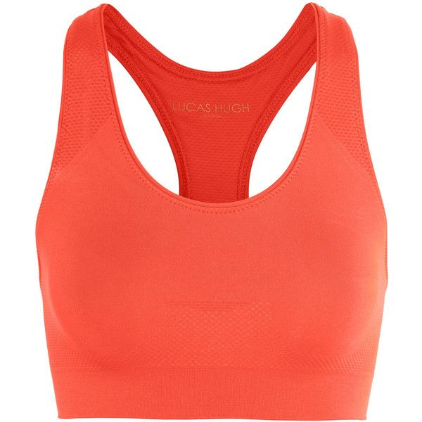 Lucas Hugh Technical-knit stretch sports bra (315 NOK) ❤ liked on Polyvore featuring activewear, sports bras, bright orange, orange sports bra, racer back sports bra, red sports bra, lucas hugh and racerback sports bra