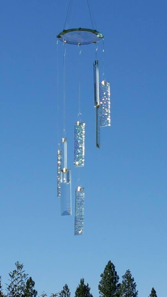 Beveled and Iridescent Glass Windchime