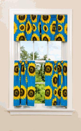 Sunflowers Kitchen Curtains