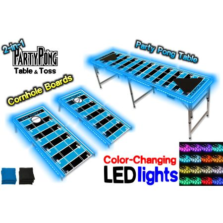 2-in-1 Cornhole Boards & Beer Pong Table w/ Color-Changing LED Glow Lights - Carolina Football Field, Silver