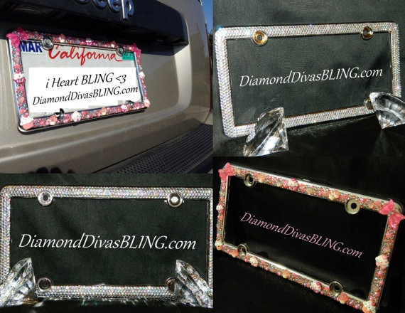 Blinged Out License Plate Covers by DiamondDivasBling on Etsy, $80.00    ♥ LIKE ♥ our page today and get 10% off your order! ♥ www.facebook.com/DiamondDivasBLING ♥