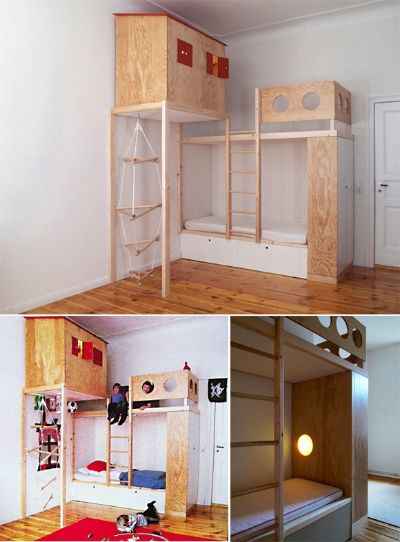 built-in loft bed in a kid's room