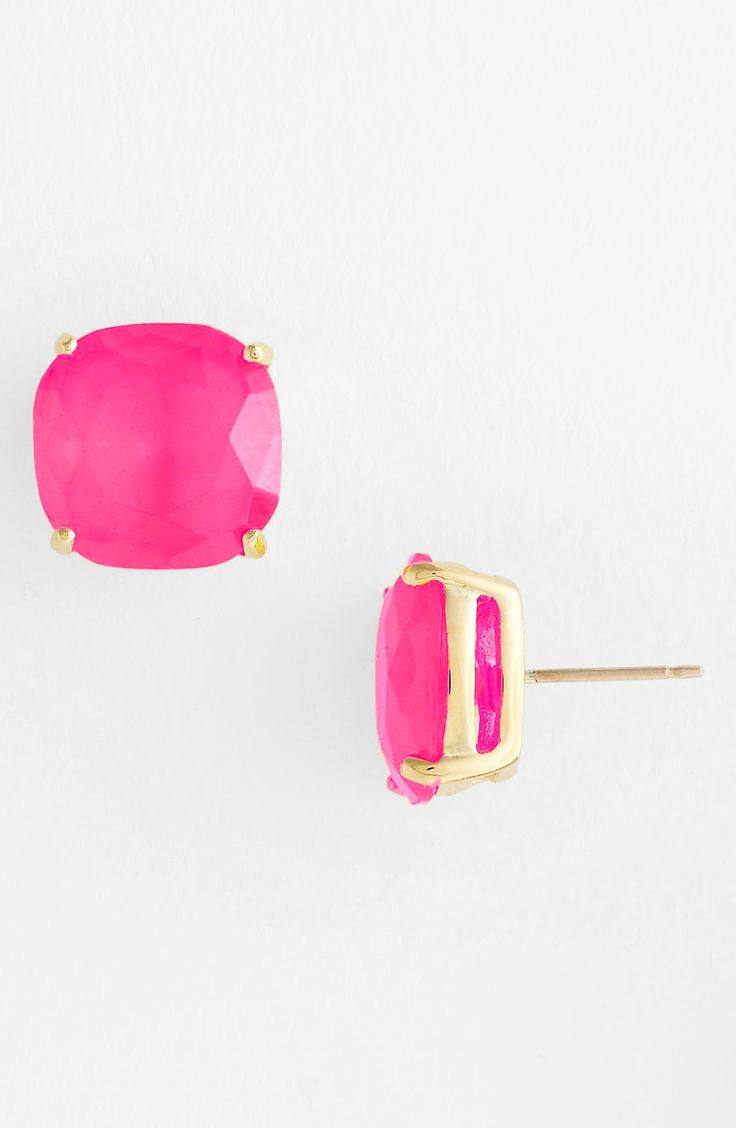 These pink Kate Spade stud earrings are everything. You'll want them in all 16 colors! They are big enough to make a statement and add some bling to an outfit. Great for wearing with jeans and t-shirt or pretty dress and heels.