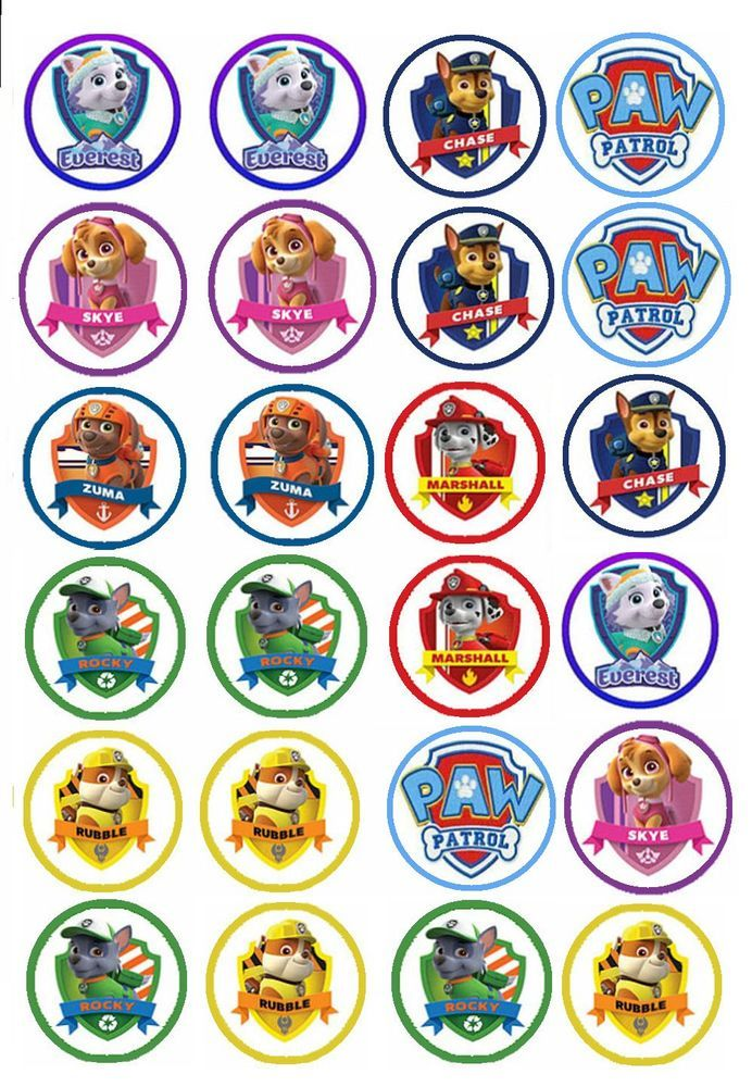 EDIBLE IMAGE- 24 PAW PATROL CUPCAKE TOPPERS #Unbranded