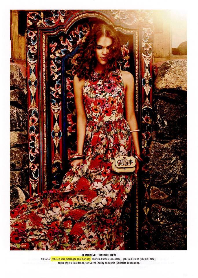 Best Editorials - Blugirl Spring Summer 2015 • Floral printed long dress. • Gala, France - July 22, 2015