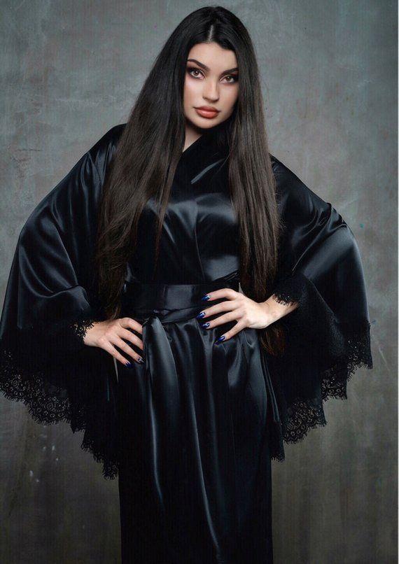 Silk Satin Robe Black Robe Silk Kimono Women S Robe Black
