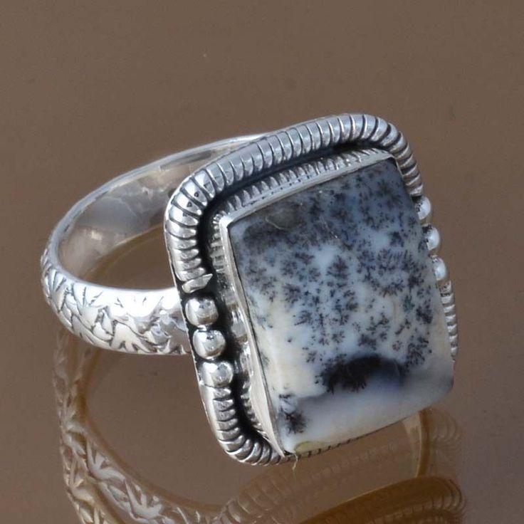 925 SOLID STERLING SILVER DESIGNER DENDRITEC AGATE RING 6.05g DJR8387 SZ-8.25 #Handmade #Ring