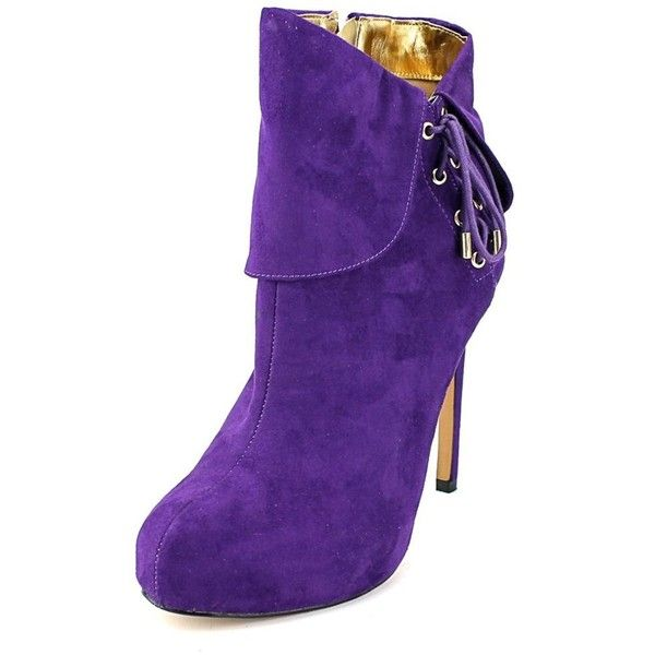 Thalia Sodi Thalia Sodi Ohlivia Round Toe Canvas Bootie | Bluefly.Com ($25) ❤ liked on Polyvore featuring shoes, boots, ankle booties, ankle boots, purple, high heel bootie, high heel ankle booties, ankle bootie boots and purple ankle boots