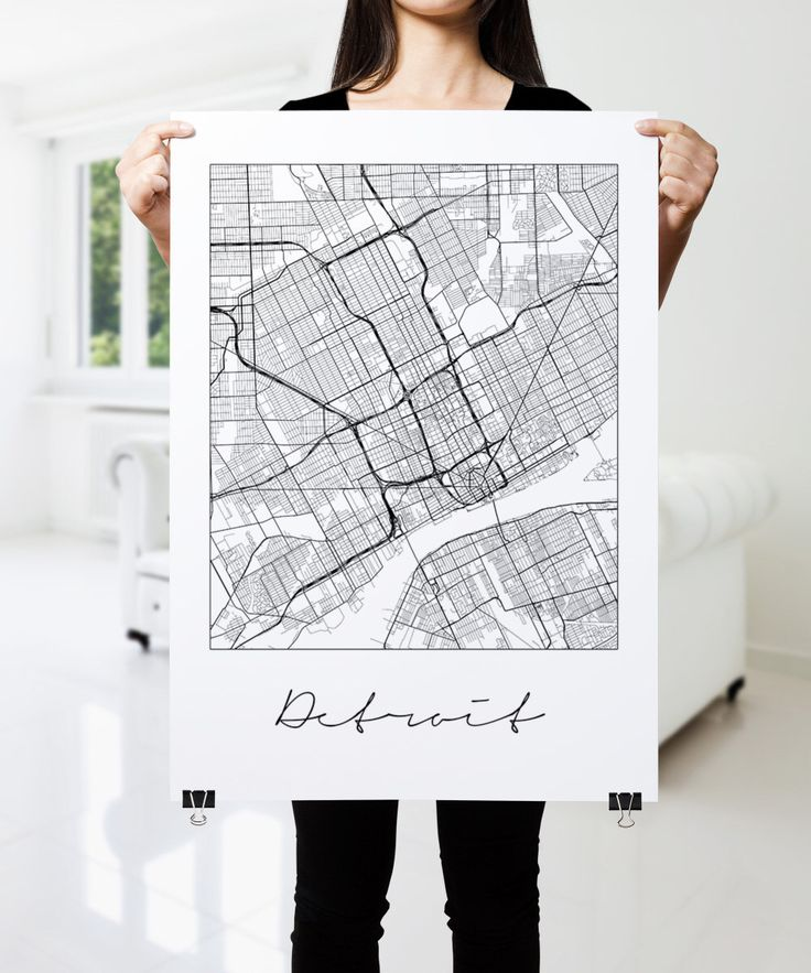 Detroit In World Map%0A DETROIT Map Print  Modern City Poster  Black and White Minimal Wall Art for  the