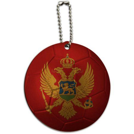 Montenegro Flag Soccer Ball Futbol Football Round Wood ID Tag Luggage Card, Multicolor