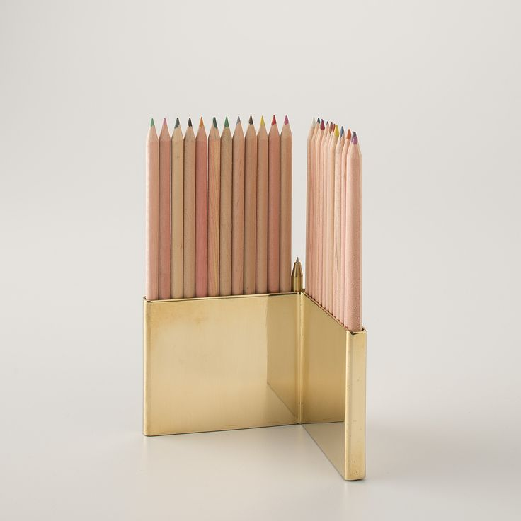 Colored Pencils With Brass Holder Set: