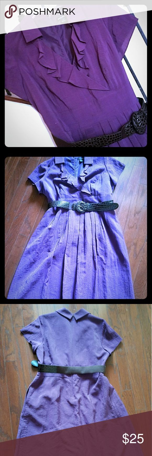 🎈🎁🎂SALE Jessica Howard Purple  Dress V neck with ruffled lapel, flared , lined skirt. with  2 deep pockets,  wide  belt. Hits just below the knee (5'6). This dress is a beautiful light purple which is FABuLOUS against any complexion💜l💄 dark Plum lipstick💋& black, strappy sandals 👢& a multicolored envelope clutch. 🌟This dress will be the highlight of the evening.❣❣❣👌😉💖  #Romantic #Purple #Frills ⚘ Jessica Howard Dresses Midi