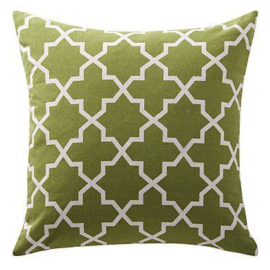 Olive Green Trellis Cotton Canvas Decorative Pillow – USD $ 10.99