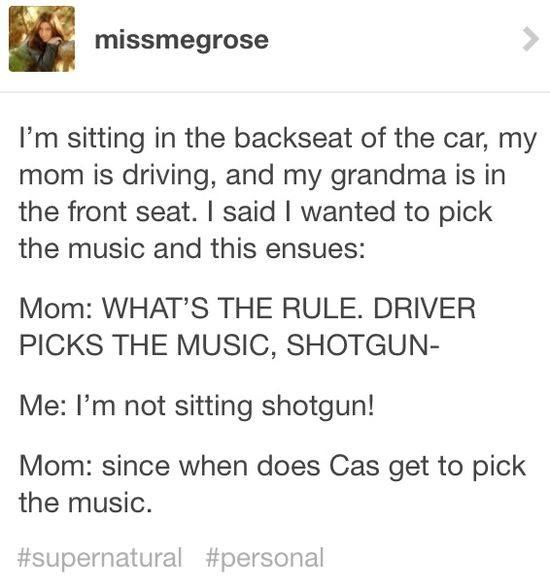 Hahaha » I think we'd have this conversation in our family <-- Cas gets to pick the music when Dean gets around to educating him in good music :)