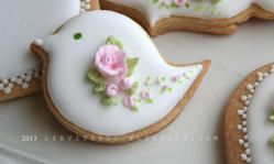 Tea Cookies - birdy with flowers