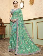 Green Color Chiffon Brasso Designer Party Wear Sarees : Kishvi Collection YF-64977