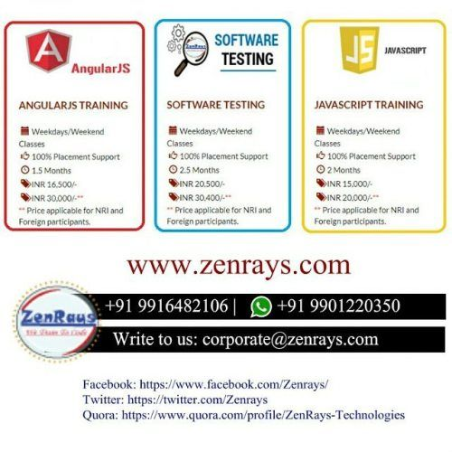 #AngularJS #JavaScript #SoftwareTesting Training in Bangalore. (Classroom \ Online sessions available) Work on Real Time Live Project along with Industry Experts. Call Now +91 9916482106 \ WhatsApp +91 9901220350 | Visit http://Zenrays.com
