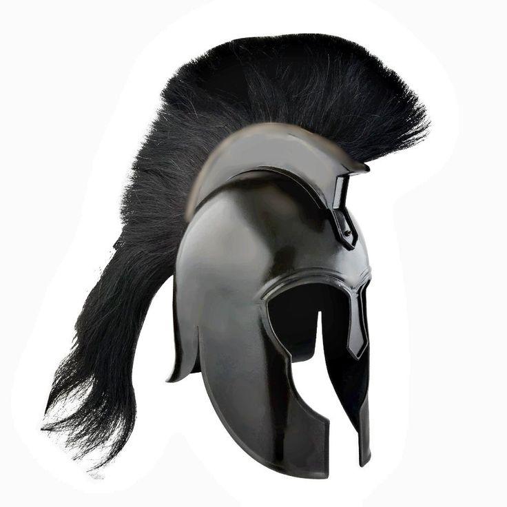 Trojan Helmet, Spartan Greek Black Steel Helmet w/ Plum Costume Armor Black Troy