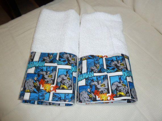 Batman Superhero Decorative Hand Towels (Set Of 2) Kitchen, Bath Or Powder  Rm