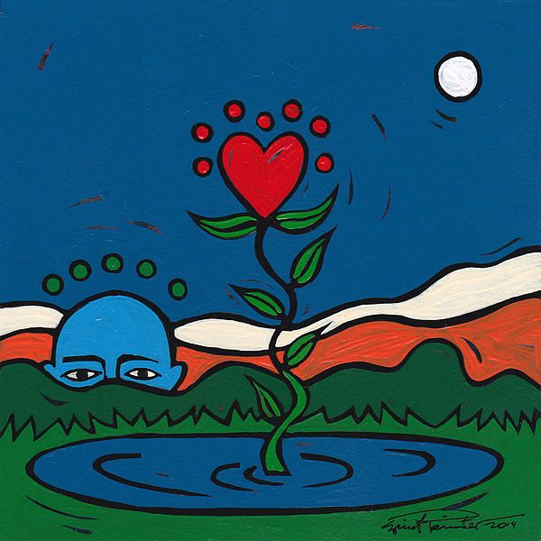 Blue Tiny Daily Reiki 066  The blue one sees love growing, but as something apart.   What the blue one doesn't see in the dark night of aloneness is the life and growth that's going on in the midst of its sadness.  Life isn't withholding, but preparing.