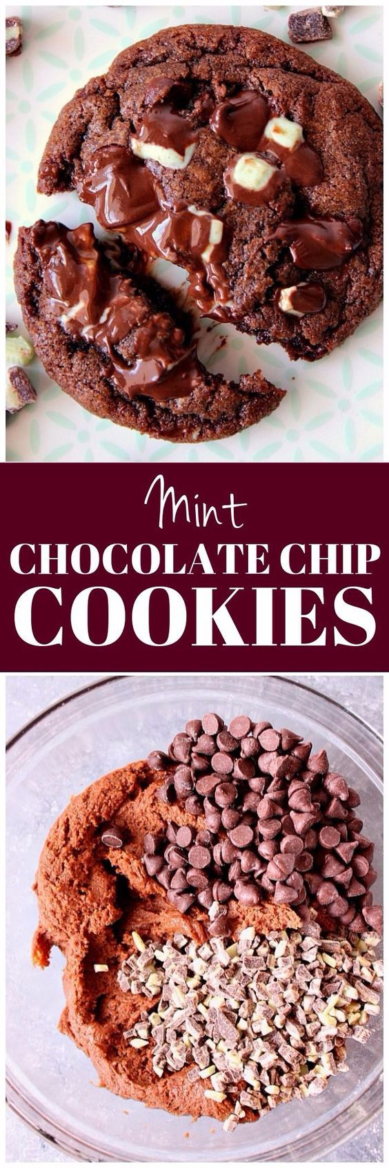 Mint Chocolate Chip Cookies Recipe - chocolate cookies filled with mint chips and chocolate chips! So easy, no mixer needed!