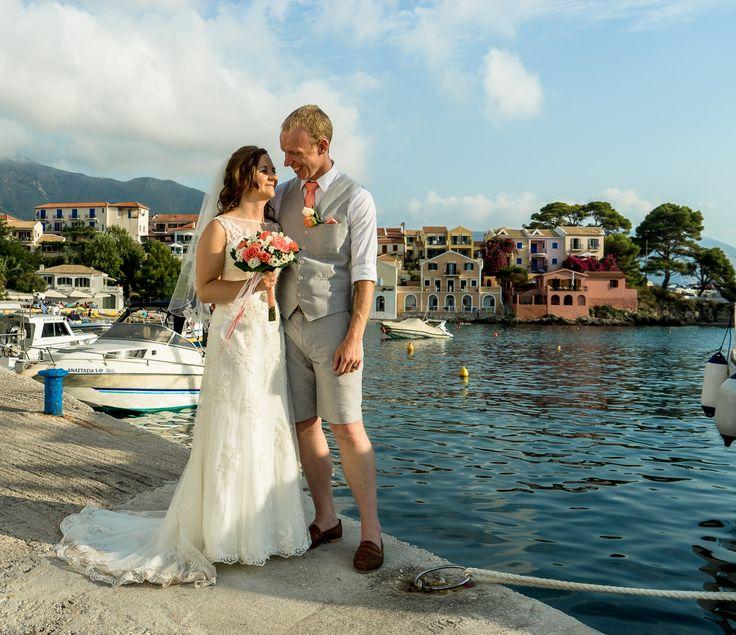 Bride and groom photo - Beautiful backround the quaint village of Asos - Love this shot #weddinginkefalonia #chapelwedding #mythosweddings