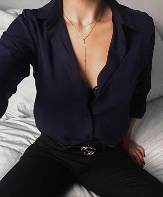 Street style | Navy v-neck blouse with black jeans