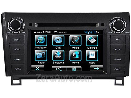 "2007-2013 Toyota Tundra 2008-2014 Toyota Sequoia In-dash GPS Navigation DVD Stereo Bluetooth Radio Handsfree A2DP Music Streaming 7"" Inch Touch Screen AV Receiver USB CD MP3 CD Player FM AM iPod-Ready"