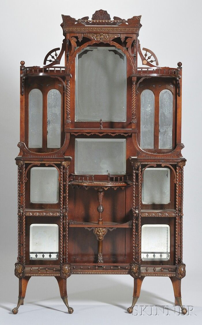 Aesthetic Movement Cherry Étagère, attributed to Merklen Bros. Offering a bit of storage I see.