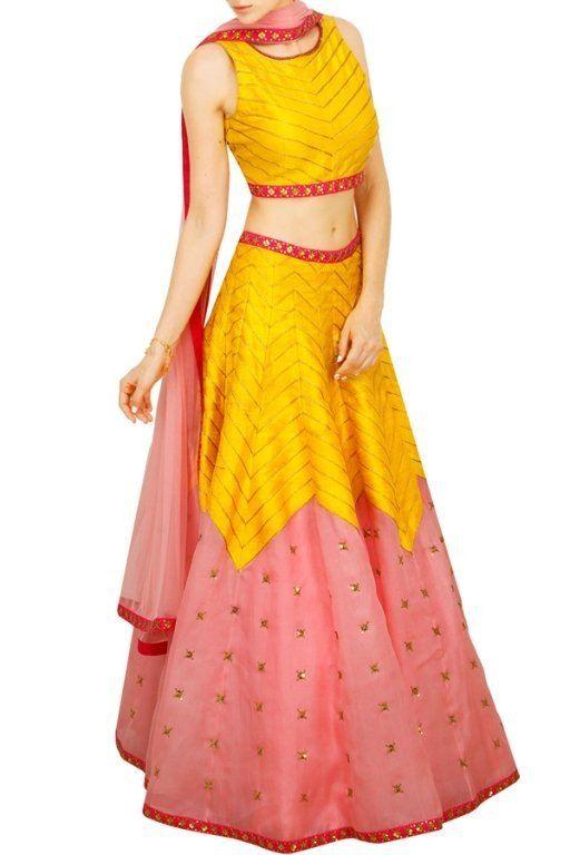 Pink and yellow raw silk lehenga choli