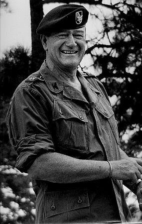 "John Wayne, director, and Mervyn Leroy on location for ""The Green Berets,"" 1967"