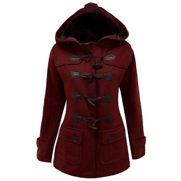 Chic Hooded Long Sleeve Button Design Women's Coat