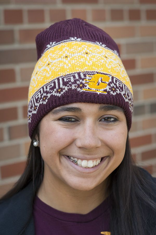 Central Michigan Flying C Maroon And Gold Fair Isle Adidas Beanie