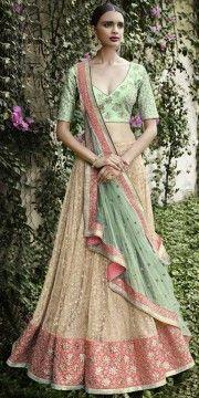 Women's Pretty A Line Lehenga Style in Dark Cream And Green Color With Resham Work Dupatta.