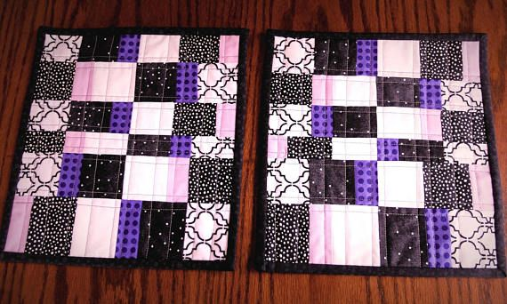 Set of 2 Modern geometric black white and purple quilted